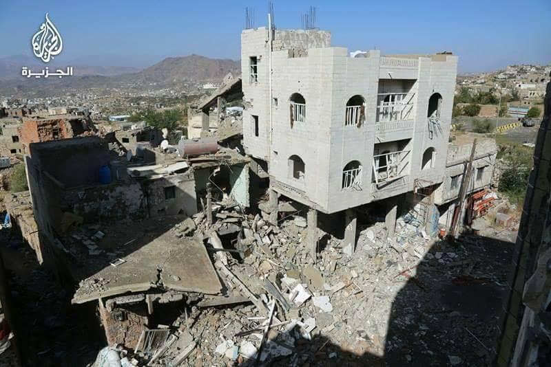 شاهد اثار الدمار والخراب الذي احدثته المليشيا في تعز