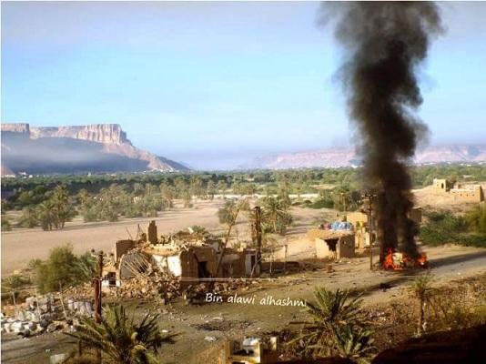 بالصور: مدينة شبام التاريحية ونقطة الجيش عقب الهجوم الانتحاري