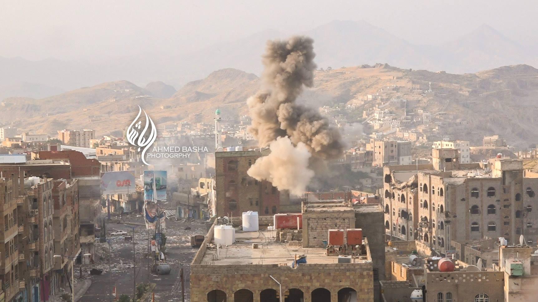 صور قصف مليشيا الحوثي والمخلوع لحي الحصب في تعز