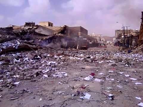 الشارع الرئيسي في صعدة بعد تعرضه للقصف من قبل قوات التحالف