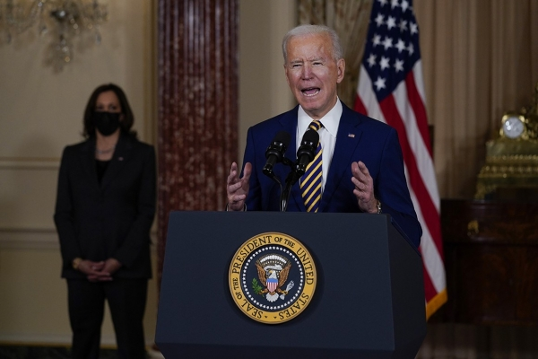 Biden's first big foreign policy speech calls out Russia, limits role in Yemen