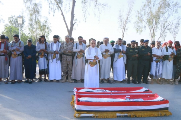 Official and public funeral of the head of operations of the Special Security Forces and his escort in Marib
