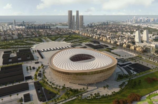 بالفيديو- يستضيف نهائي مونديال 2022 في قطر.. اكتمال الهيكل الخارجي الفريد لملعب لوسيل