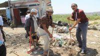 حملة نظافة في مدينة التربة تمهيدا لإعلانها مركزا إغاثيا لمحافظة تعز