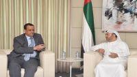 المبعوث الأممي يبحث مع وزير الدولة للشؤون الخارجية الإماراتي مستجدات الملف اليمني