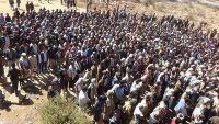 """الضالع.. الآلاف يشيعون جثمان قائد المقاومة بجبهة دمت """"معين الشمسي"""""""