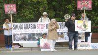 يمنيون يتظاهرون أمام مقر إقامة بن سلمان في كاليفورنيا تنديدا بالحرب على اليمن (صور)