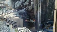 حريق ضخم يلتهم مقرا جديدا لبنك الكويت الوطني