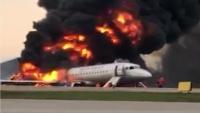 شاهد لحظة الهبوط الاضطراري واندلاع الحريق بالطائرة الروسية