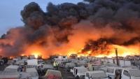 حريق هائل يطال منطقة صناعية في جدة السعودية
