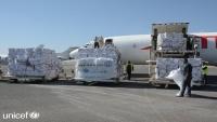 اليونيسف تعلن وصول طائرة مساعدات طبية مخصصة لمواجهة كورونا إلى مطار صنعاء