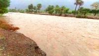السيول تقطع الطريق الدولي الرابط بين مناطق حضرموت الساحل والوادي