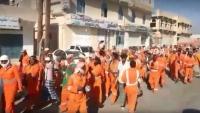 تظاهرة لعمال النظافة في سيئون للمطالبة بتغيير أعضاء اللجنة النقابية