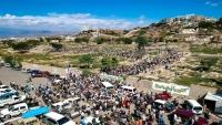 جموع عفيرة من المواطنين في تعز تشيّع جثمان العقيد حمزة شداد