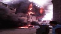 إصابة 7 أشخاص إثر اندلاع حريق بمستودع تجاري في عدن